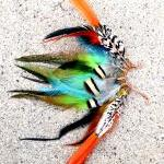 Spiritual Aura Feather Ear Cuff / Earcuff : Copper Wire - Orange/Blue/Green//Exotic Feathers **FREE SHIPPING