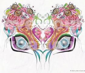 Singing Heart Butterfly - Mixed Media - Color Pencil - Digital - 28'x40'x1.5' Thick Glossy Finish Canvas Print **FREE SHIPPING